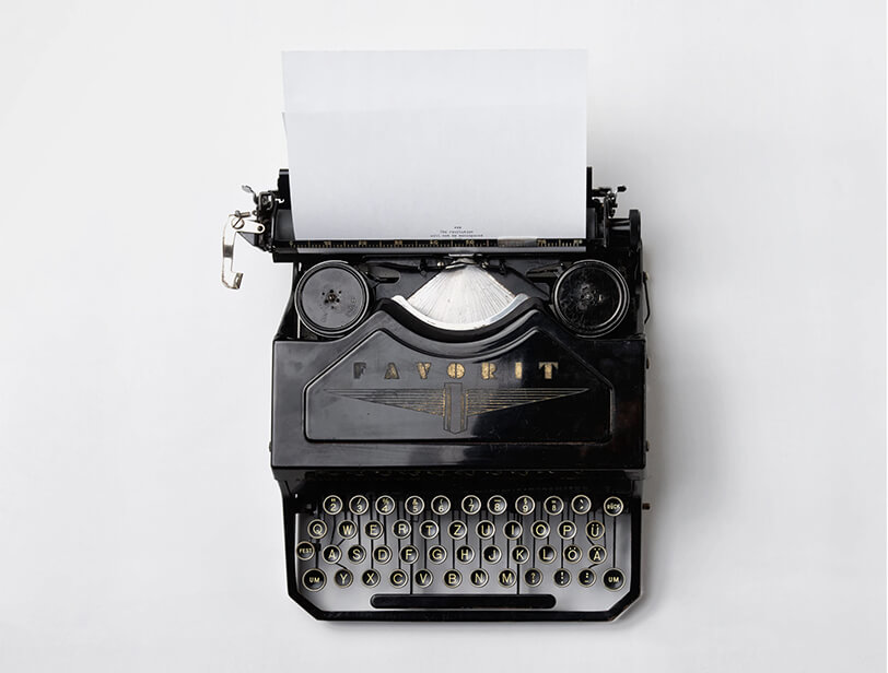 Top-down view of a typewriter